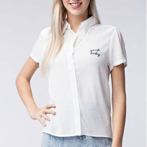 NEW Yeah Baby Embroidered Blouse Top White 90's